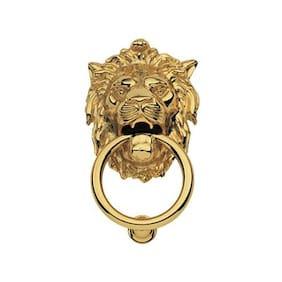 SmartShophar Brass Door Knocker Lion Gold Finish 7.5