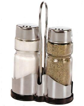SMART SKILL HOME UTILITY SALT PEPPER SHAKER WITH STEEL RACK AND HOLDER