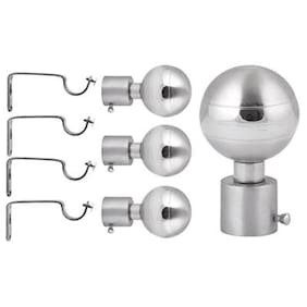 Smart Shophar Stainless Steel Curtain Finial with Brackets Pack of 4 Nos