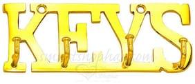SmartShophar Brass Wall Hook Keys Gold Finish 4 Leg