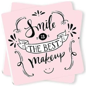 Smile is The Best Makeup Printed Wooden Coasters (Set of 2) by Juvixbuy