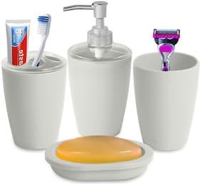 Smile Mom Bathroom Accessories Set Soap Dish;Toothbrush Holder;Liquid Bottle Dispenser;Tumbler (4 pcs)