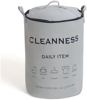 SMILE MOM Cloth Grey Laundry Basket ( Set of 1 )