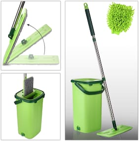 Smile Mom Magic Flat Mop Stick Rod with Bucket Set in Offer for Wet & Dry Use, Best 360 Degree Spin Easy Floor Cleaning for Home + Office, 2 Refill Washable Head & Free Microfiber Glove