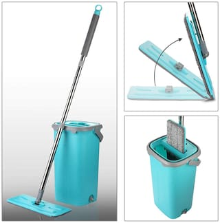 Smile Mom Magic Flat Mop Stick Rod with Bucket Set in Offer for Wet & Dry Use, Best 360 deg Spin Easy Floor Cleaning for Home + Office, 2 Refill Washable Head