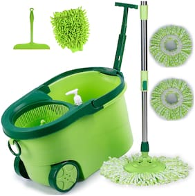 Smile Mom Magic Spin Mop with Bucket Set Offer with Big Wheels for Best 360 Degree Easy Floor Cleaning, 2 Refill Head, Free Microfiber Glove + Kitchen Wiper