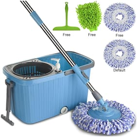 Smile Mom Magic Spin Mop with Bucket Set Offer with Easy Wheels for Best 360 Degree Floor Cleaning, 2 Refill Head, Free Microfiber Glove + Kitchen Wiper