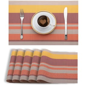Smile Mom PVC Placemats/Mat for Dining Table Kitchen (Set of 6)