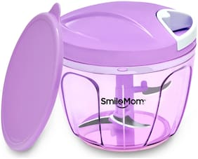 Smile Mom Quick Vegetable Chopper;Cutter Set with Storage Lid for Kitchen;3 Stainless Steel Blade (650 ml)