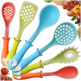 Smile Mom Silicone Cooking Utensil Set of 6 (Extra Large) for Non-Stick Cookware; Heat Resistant Kitchen Tools; 1 Skimmer, 1 Ladle, 1 Turner, 1 Spaghetti Server, 1 Slotted & 1 Food Spoon