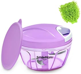 Smile Mom Swift Vegetable Chopper, Cutter Set with Storage Lid for Kitchen, 3 Stainless Steel Blade (400 ml) with Microfiber Gloves
