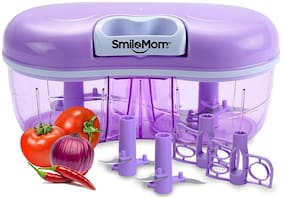 Smile Mom Twin Vegetable Chopper, Cutter, Mixer for Kitchen, 4 Interchangeable Blade, Violet (1500 ML)