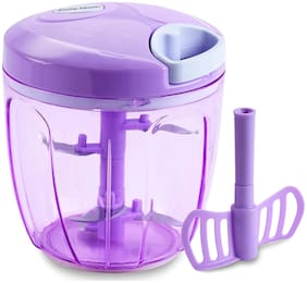 Smile Mom Vegetable Chopper, Cutter, Whisker for Kitchen, 5 SS Blade + Whisker Blade, Violet (900 ml)