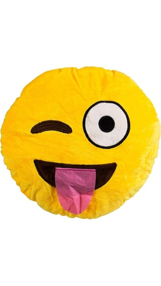 Smiley Face With Stuck-Out Tongue Winking Eye Emoji Cushion Pillow