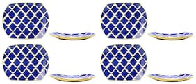 Snack Plate 10IN Ceramic/Stoneware in Blue Umrao (Set of 8) Handmade By Caffeine