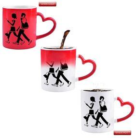 Snoby Boy and girl walking while talk Ceramic Printed Magic Mug