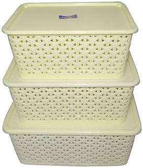 SNOWBIRD 3 Piece Plastic Basket with Lid, Ivory