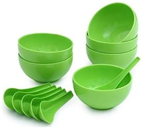 Snowpearl Microwave Safe Green Round Soup Bowl with Spoon Set of 12