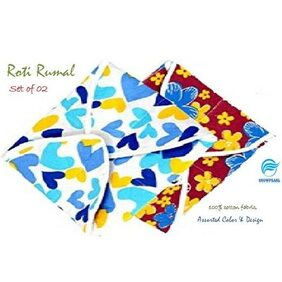 Snowpearl Roti/Chapati Covers , Traditional Roti Rumals - 100% Pure Cotton Cover, Assorted Color & Design (Set of 2, Square)
