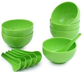 Snowpearl Round Big Soup Bowl with Spoon Set, Green, 12-Pieces (Microwave Safe)