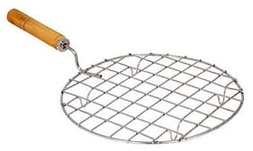SNR Stainless Steel Round Roaster Papad Jali, Pizza, Barbecue Grill with Wooden Handle