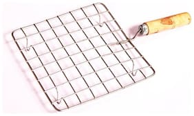 SNR Stainless Steel Square Papad Jali With Handle (Make Roti, Chapati, Papad)