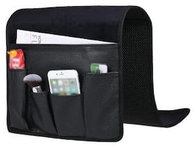 Sofa Couch Chair Armrest Soft Storage Organizer Holder for Remote Control Cell Phone Book Pencil iPad Book Snacks 5 Pockets Hanging Bag Holder Black