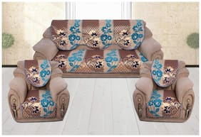 Sofa Cover Set for 5 Seater Sofa;500 TC Velvet Fabric Premium Quality;Color Blue;By Fresh From Loom