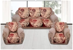 Sofa Cover Set for 5 Seater Sofa;500 TC Velvet Fabric Premium Quality;Maroon Color;By Fresh From Loom