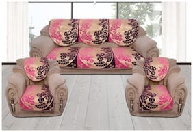 Sofa Cover Set for 5 Seater Sofa;500 TC Velvet Fabric Premium Quality;Color Pink and Purple;By Fresh From Loom