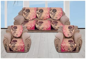 Sofa Cover Set for 5 Seater Sofa;500 TC Velvet Fabric Premium Quality;Pink and Purple Color;By Fresh From Loom