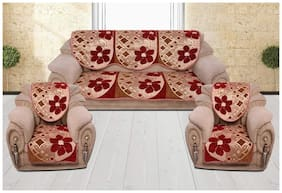 Sofa Cover Set for 5 Seater Sofa;500 TC Velvet Fabric Premium Quality;Color Maroon;By Fresh From Loom