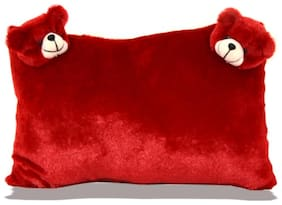 Soft Fiber Fur Premium Quality Pillow for Bed and Sofa with 2 Teddy Face /Valentine /Birthday Gift - Red