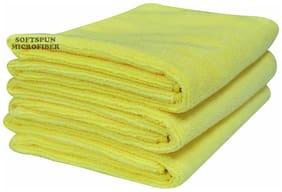 SOFTSPUN 340 GSM Microfiber Face Towel ( 3 Pieces , Yellow )