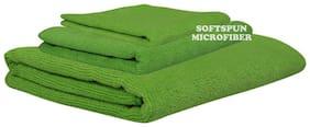 SOFTSPUN 340 GSM Microfiber Bath towel ( 3 pieces , Green )