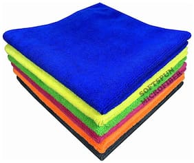 SOFTSPUN Microfiber Home, Kitchen & Bathroom Cleaning Towel Cloth - 30X30 cm - MULTICOLOR -4Pc