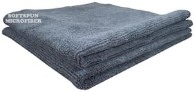 SOFTSPUN 340 GSM Microfiber Hand towel ( 2 pieces , Grey )