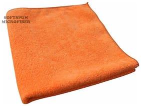 SOFTSPUN Microfiber Home, Kitchen & Bathroom Cleaning Towel Cloth - 30X30 cm - ORANGE -1Pc