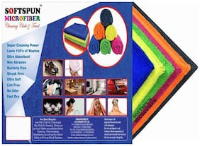SOFTSPUN Microfiber Home, Kitchen & Bathroom Cleaning Towel Cloth - 40X40 cm - MULTICOLOR -4Pc