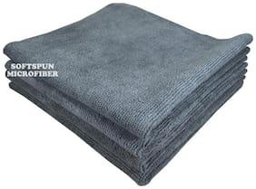 SOFTSPUN 340 GSM Microfiber Hand Towel ( Pack of 4 , Grey )