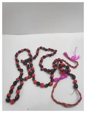 Soilmade Red And Black Gunja Mala Garlands-Multi