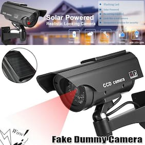 Solar Power Bullet Fake Dummy Surveillance Security Camera with Led In/Outdoor