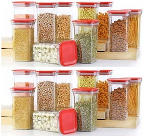Solomon Plastic Grocery Container Set of 20 ( 1100 ml , Red )
