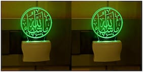 Somil 3D Illusion Effect Allha Multi Colour LED Night Lamp,Set Of Two