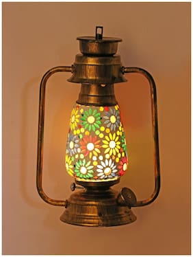 Somil Antique Wall Mount Lantern Lamp Light With Glass Hand Decorated With Colorful Articles For Special Lighting Effects A3