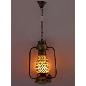 Somil Antique Pendant Hanging Lantern Lamp Light With Colorful Glass Perfect Match Of Trading And Traditional A6