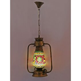 Somil Antique Pendant Hanging Lantern Lamp Light With Colorful Glass Perfect Match Of Trading And Traditional A2