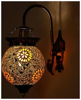 Somil Attractive Royal Down To Earth Metal Fitting Decorative Colorful Glass Wall Lamp-DN12