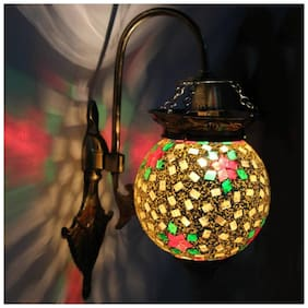 Somil Attractive Royal Down To Earth Metal Fitting Decorative Colorful Glass Wall Lamp-DN08