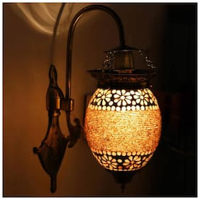 Somil Attractive Royal Down To Earth Metal Fitting Decorative Colorful Glass Wall Lamp-DN09